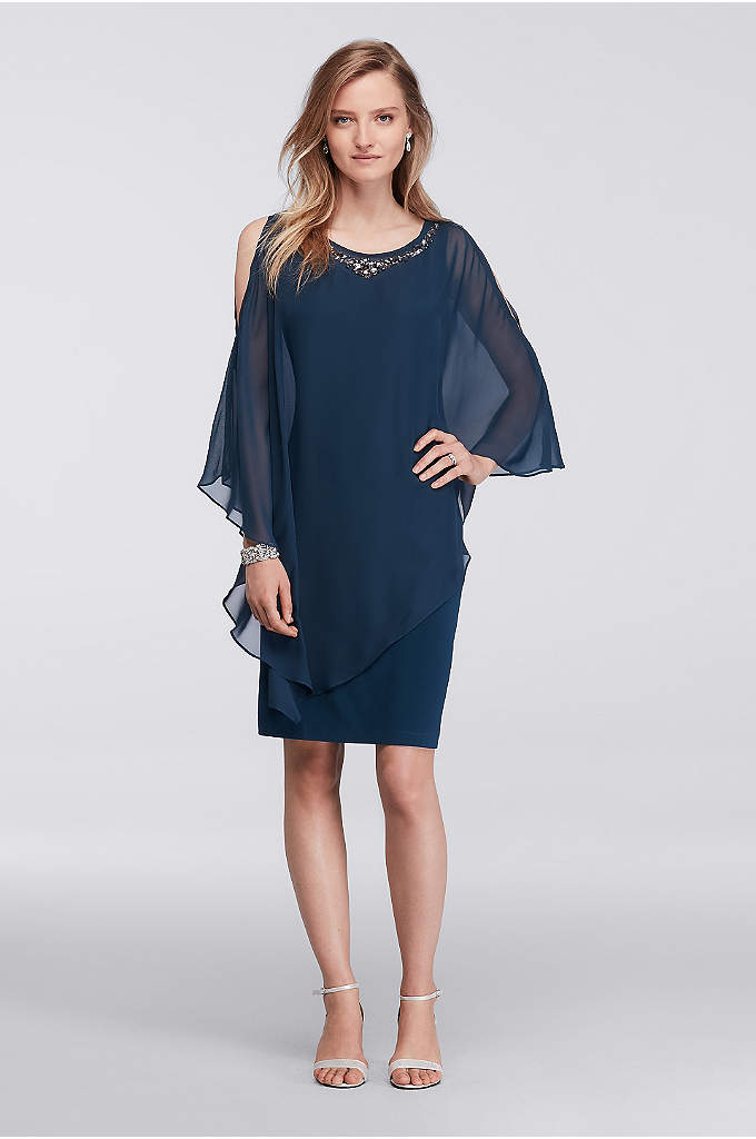 Beaded Chiffon Caplet Jersey Dress - Define comfort and class in this jersey dress